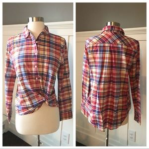 J.Crew Plaid Vibrant Half Button Collared Shirt
